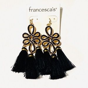 🔆3/$30 NWT Francesca's Black Silk Tassel Earrings
